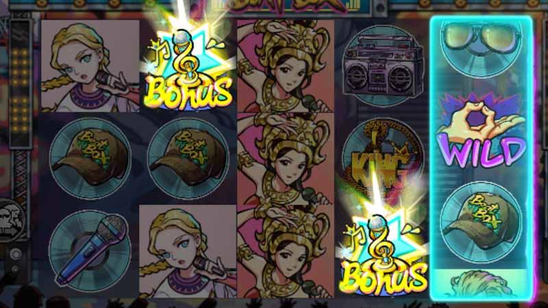 สัญลักษณ์ Scatter และ ฟรีสปิน ของเกม Beat Box slot gamatron